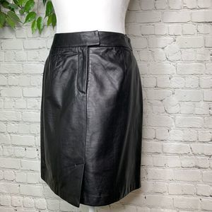 Alfani Black Lambs Leather High Waisted Skirt 6P